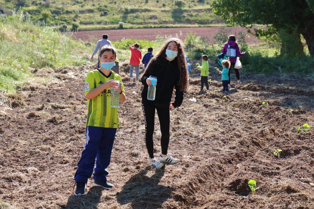 niños plantando las calabazas para la fierta de halloween de malanquilla