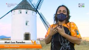 imagen del reportaje de territorio vivo de aragón tv sobre las visitas guiadas al molino de viento realizadas por Malanquilla rechita