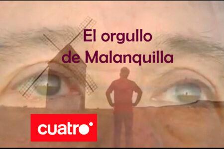 portada del reportaje de televisión realizado por el equipo de informativos del canal 4 sobre el molino de viento de malanquilla titulado el orgullo de malanquilla en el que se vén los ojos de casimiro donde se refleja el molino