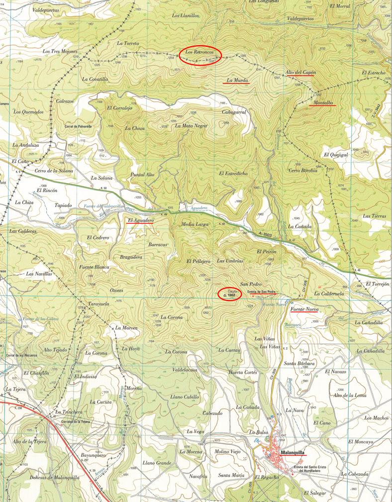 mapa de la cartografía oficial del instituto geográfico nacional de la zona de malanquilla con las cotas más significativas marcadas