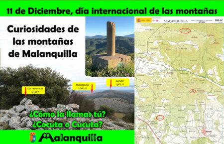 infografía de las montañas más altas de malanquilla con imágenes de los retroncos, la cocuta y su situación en el mapa oficial del instituto geográfico nacional