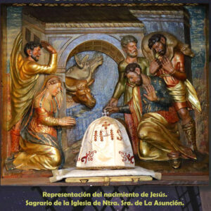sagrario de la iglesia de nuestra señora de la asunción de malanquilla que representa el nacimiento de jesús