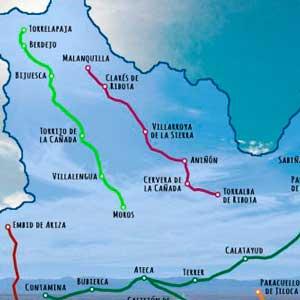 recorridos de la ruta 67 de calatayud entre las rutas del manubles y del mudejar