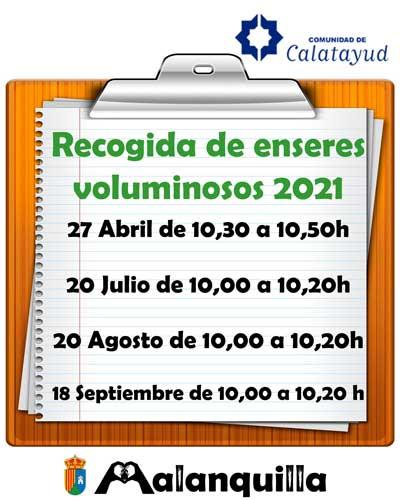 agenda de retirada de enseres voluminosos 2021 en Malanquilla